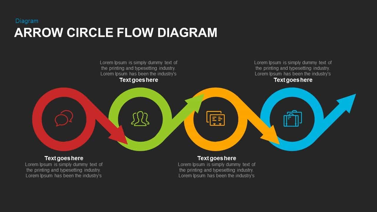 Arrow Circle Flow Diagram PowerPoint Template