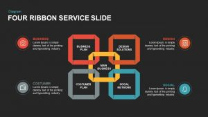 4 Ribbon Service PowerPoint Template and Keynote Slide