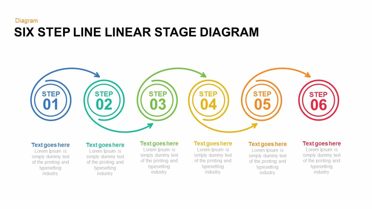 Six Step Line Linear Stage Diagram Powerpoint and Keynote 1