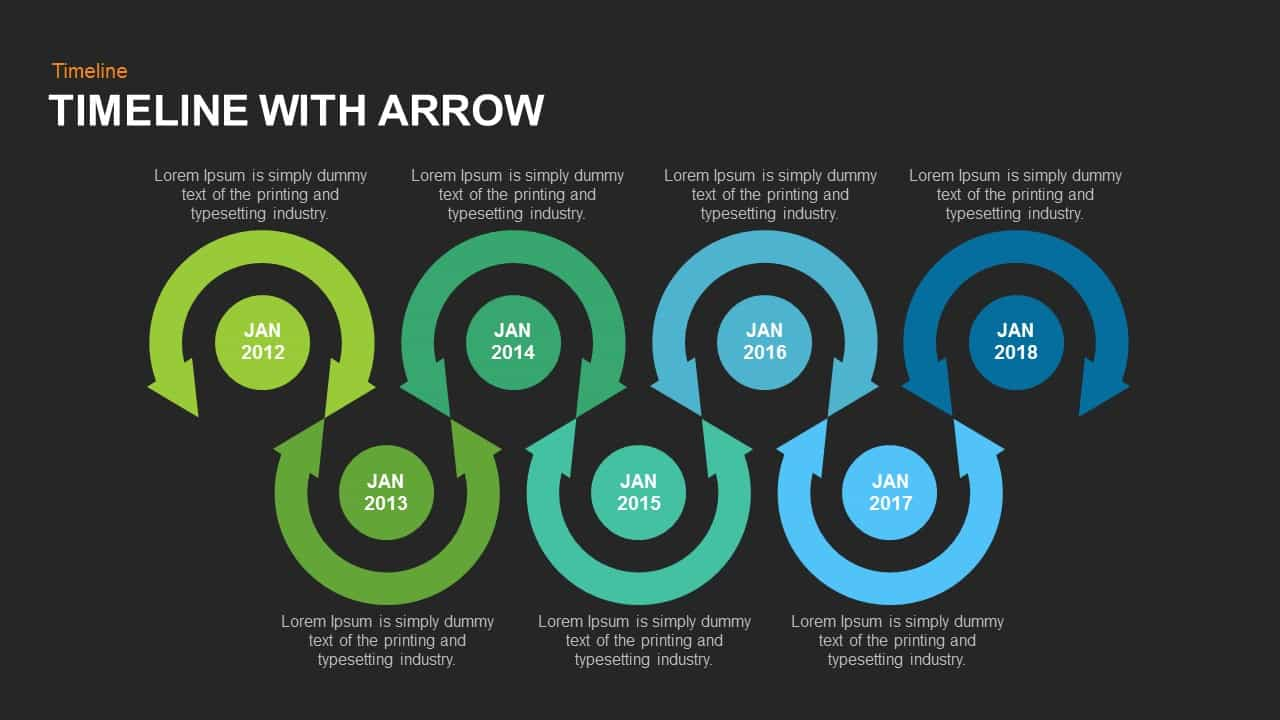Timeline arrow PowerPoint template and keynote