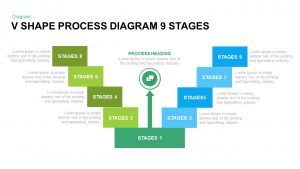 9 Stages V Shape Process Diagram PowerPoint Template and Keynote Slide