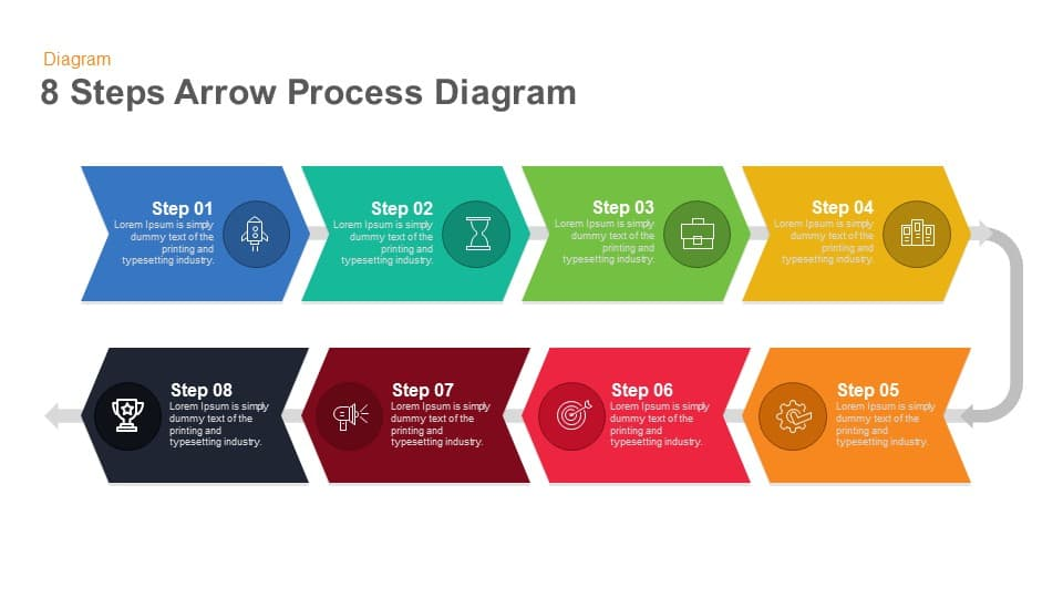 8 Steps Arrow Process Diagram Keynote and Powerpoint template