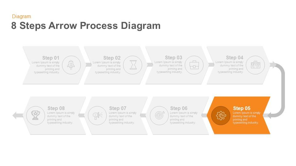 8 steps arrow flow powerpoint template