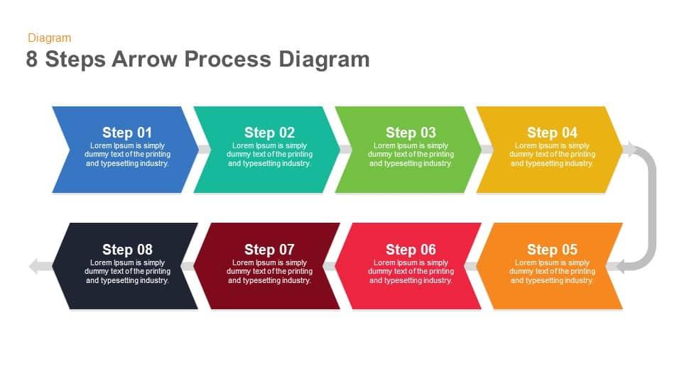 8 Steps Arrow Process Diagram Keynote And Powerpoint
