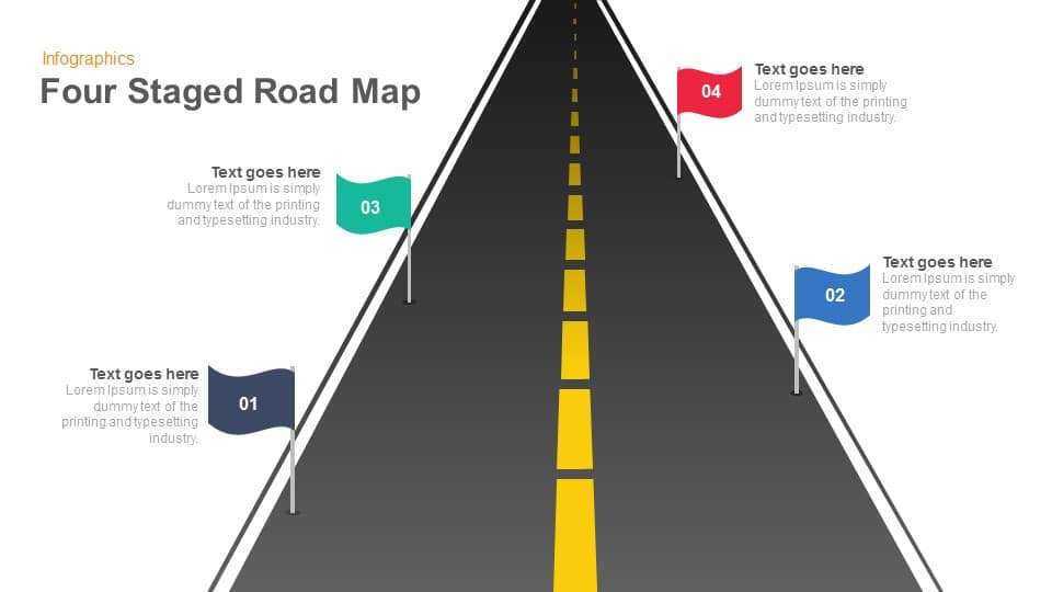four staged road map keynote and powerpoint template slidebazaar