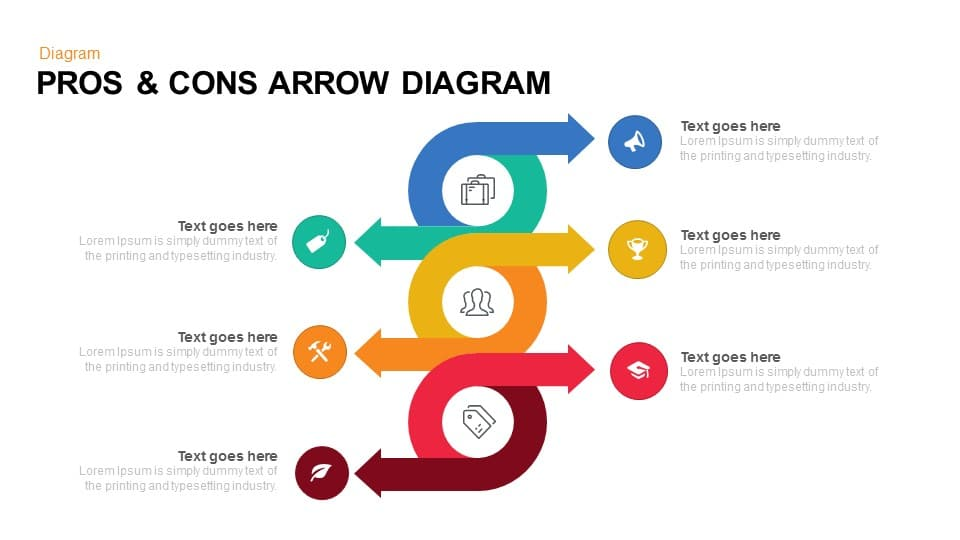 Pros And Cons PowerPoint Template Diagram With Arrow Slidebazaar