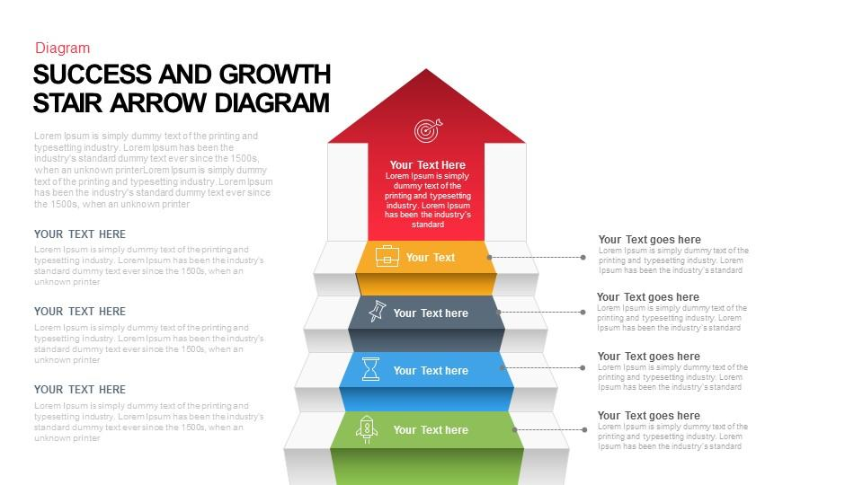 Success And Growth Stair Arrow Diagram Keynote And Powerpoint