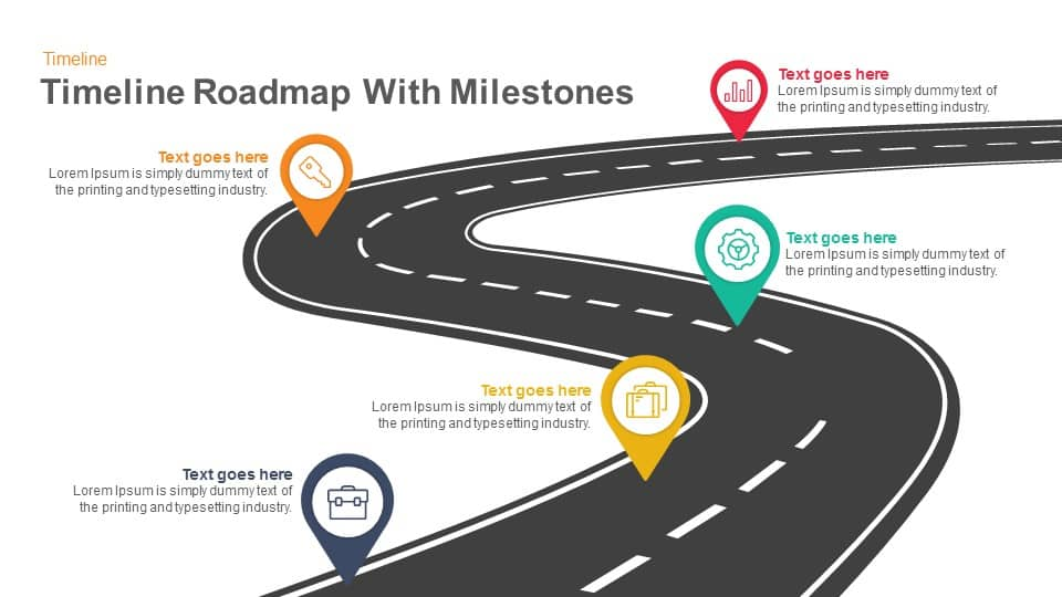 Timeline Roadmap With Milestones Keynote And Powerpoint Template - Roadmap timeline template