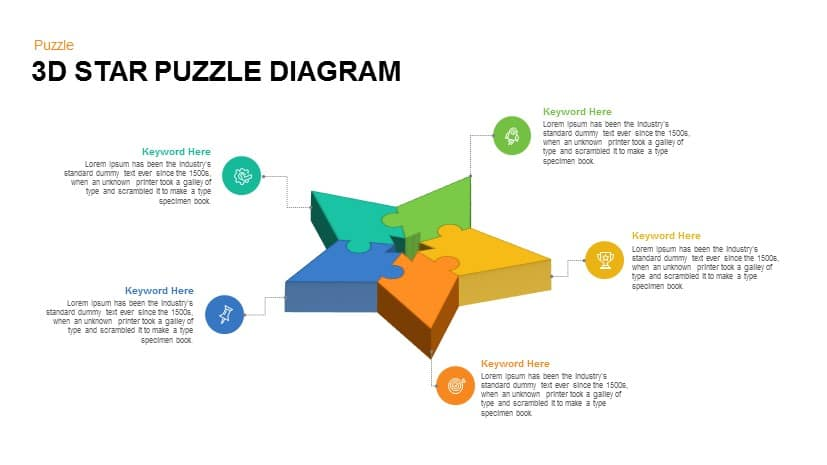 3D Star Puzzle Diagram Powerpoint Template
