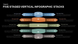 Five Staged Vertical Infographic Stacks Powerpoint and Keynote Template