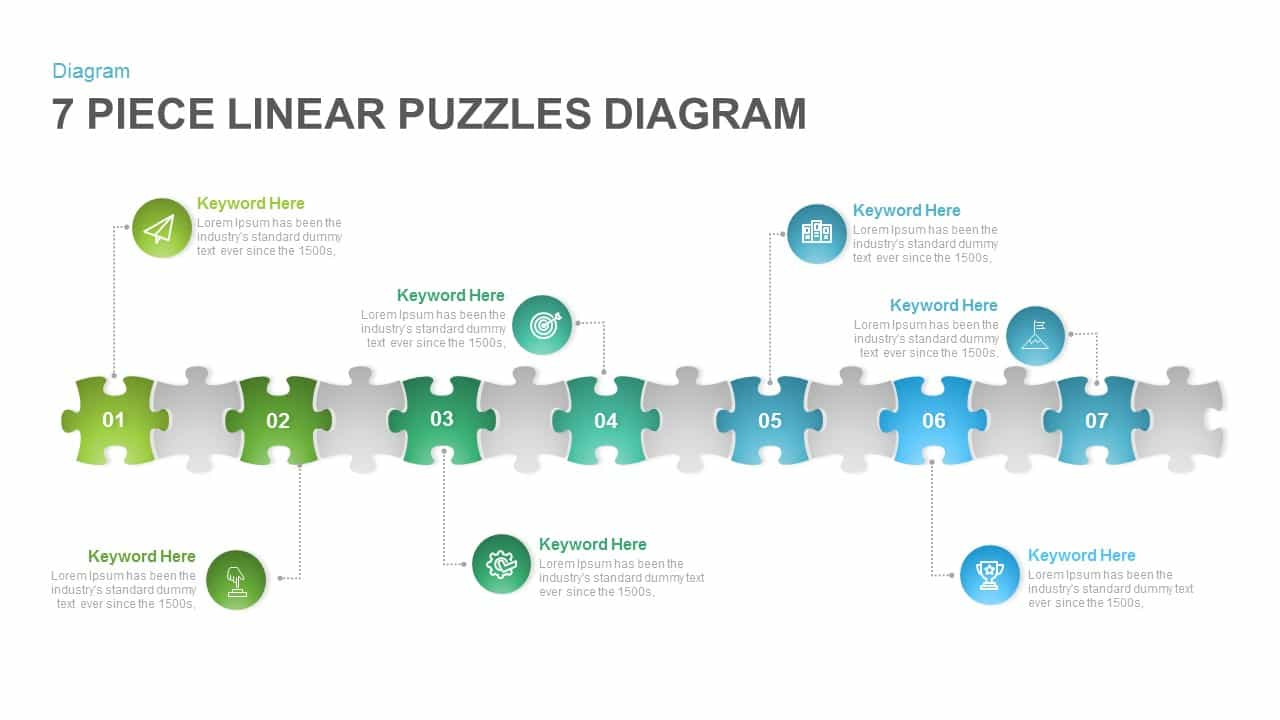 7 Section Linear Puzzle Diagram Template for PowerPoint