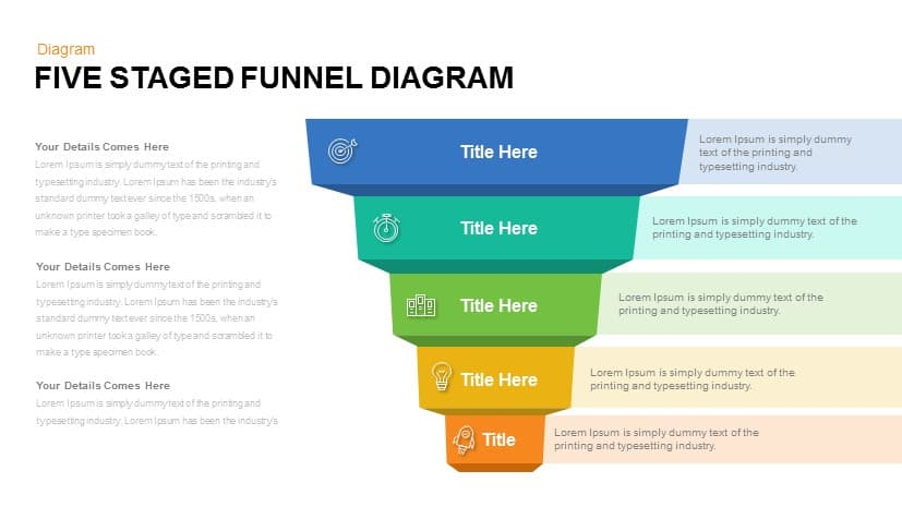 Five Staged funnel Diagram Powerpoint and Keynote template