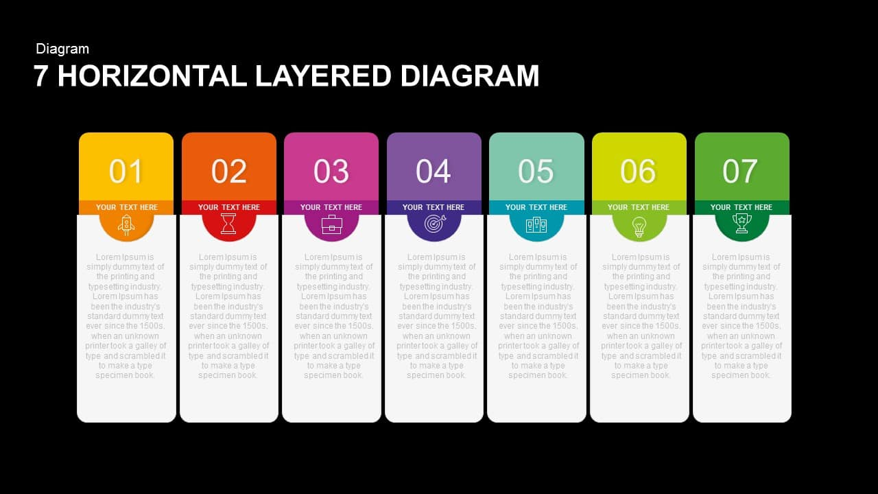 7 Horizontal Layered Diagram PowerPoint Template and Keynote