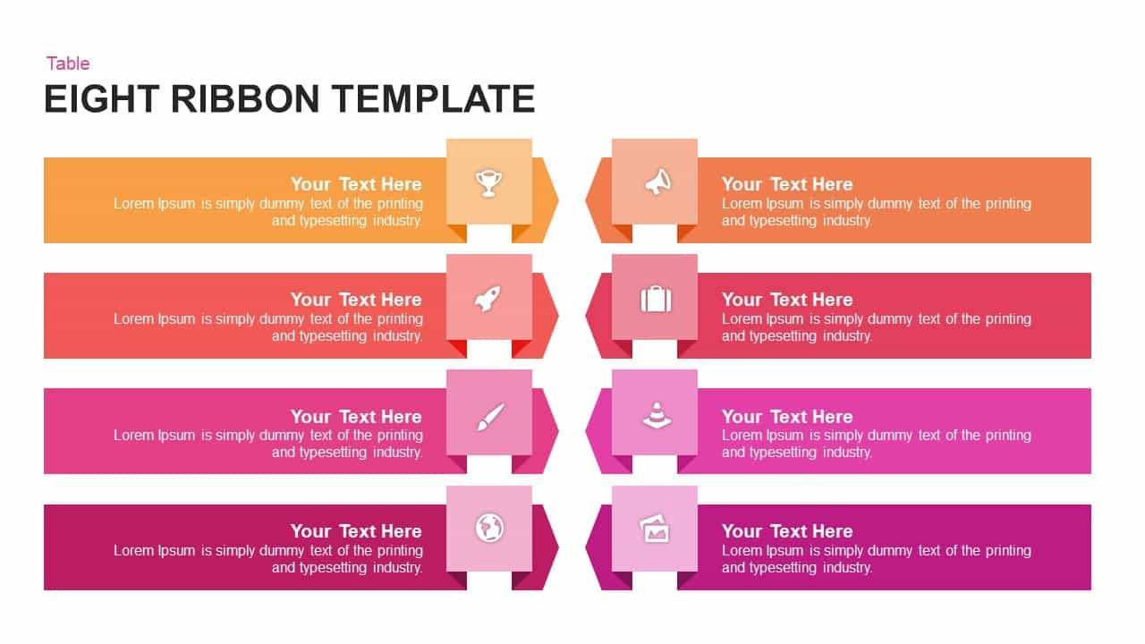 Eight Ribbon Powerpoint and Keynote template