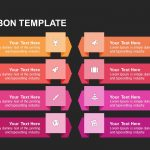 Eight ribbon powerpoint template and Keynote template
