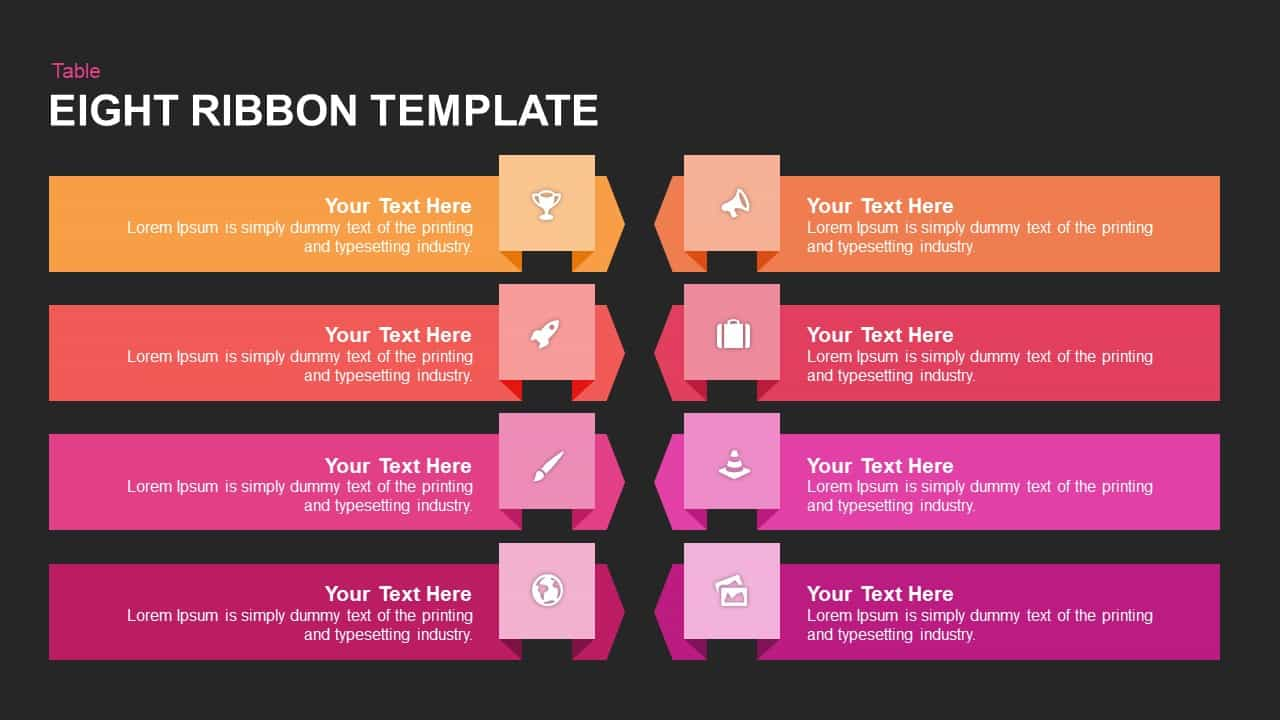 Eight Ribbon Powerpoint template
