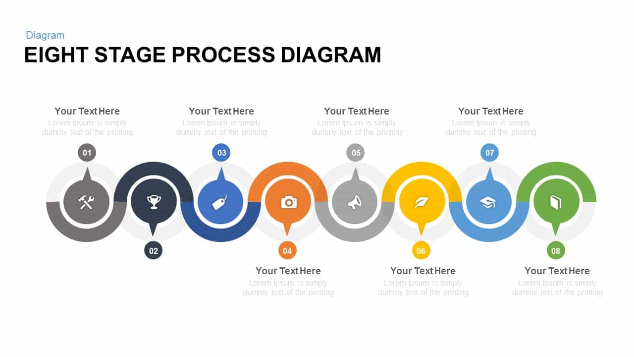 Eight Stage Process Diagram Powerpoint and Keynote template