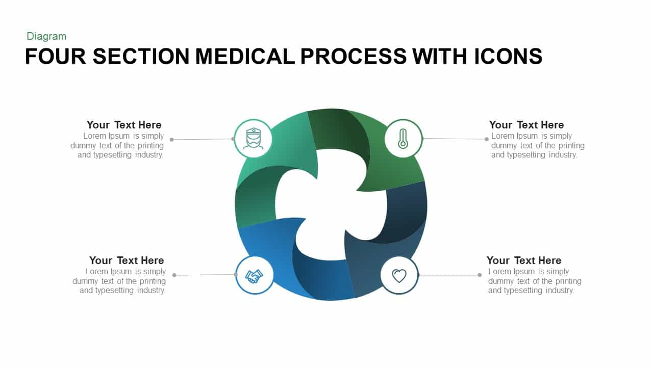 medical process Four Section Medical Process With Icons Powerpoint and Keynote ...
