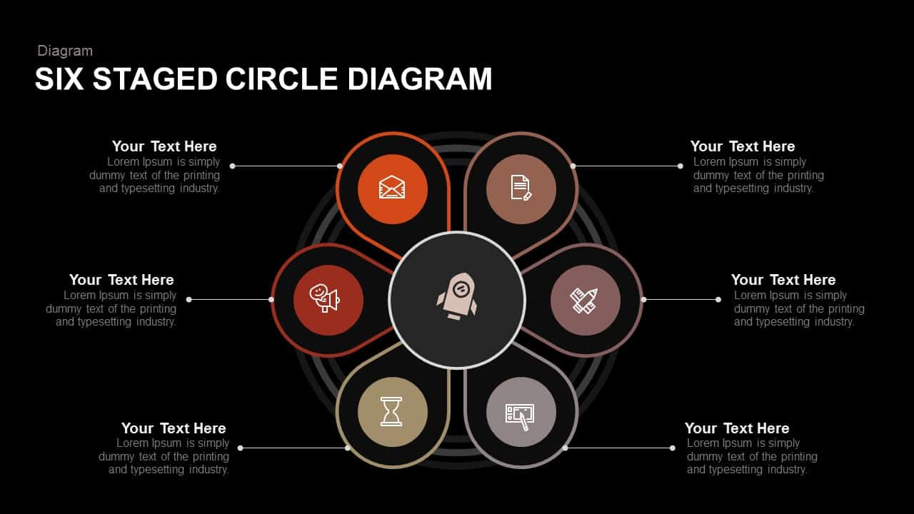 Six Staged Circle Diagram Powerpoint Template