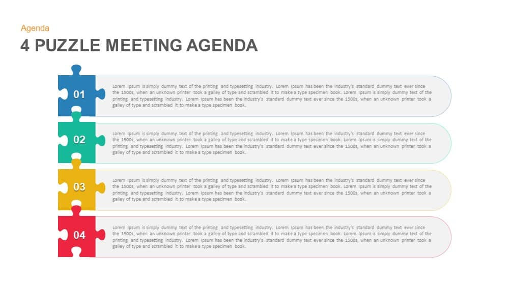 Puzzle Meeting Agenda Powerpoint And Keynote Template  Slidebazaar
