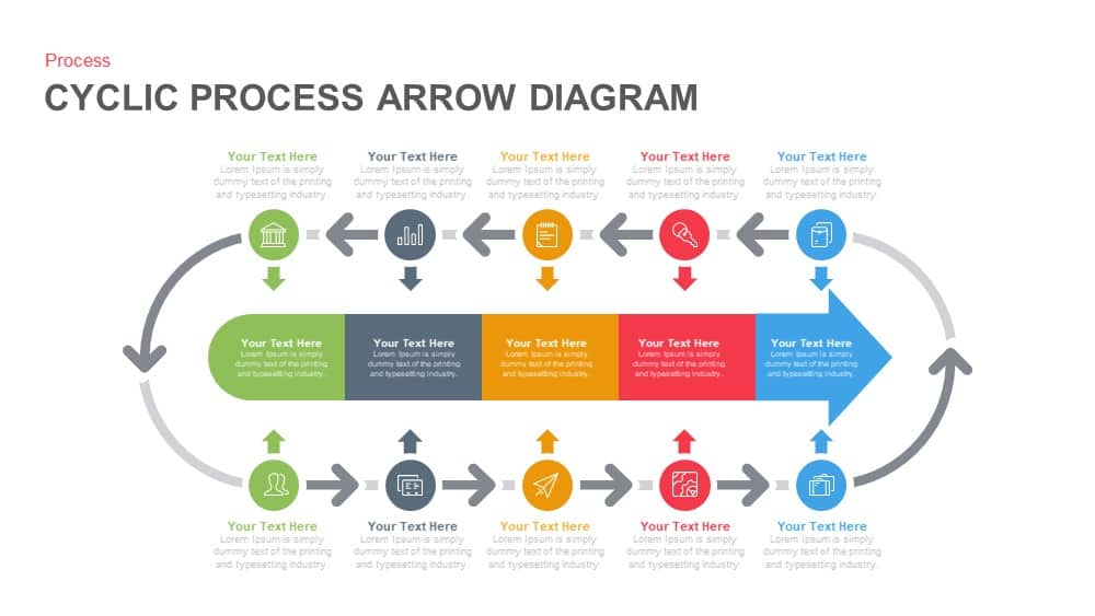 cyclic process arrow diagram powerpoint and keynote