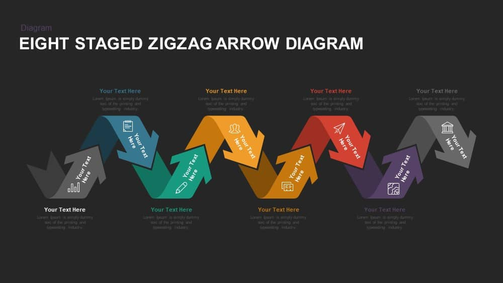 Eight Staged Zigzag Arrow Diagram Powerpoint template