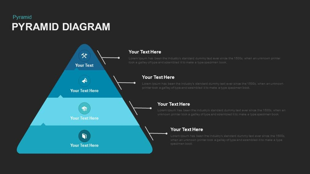 Four Stage Pyramid Diagram Powerpoint template