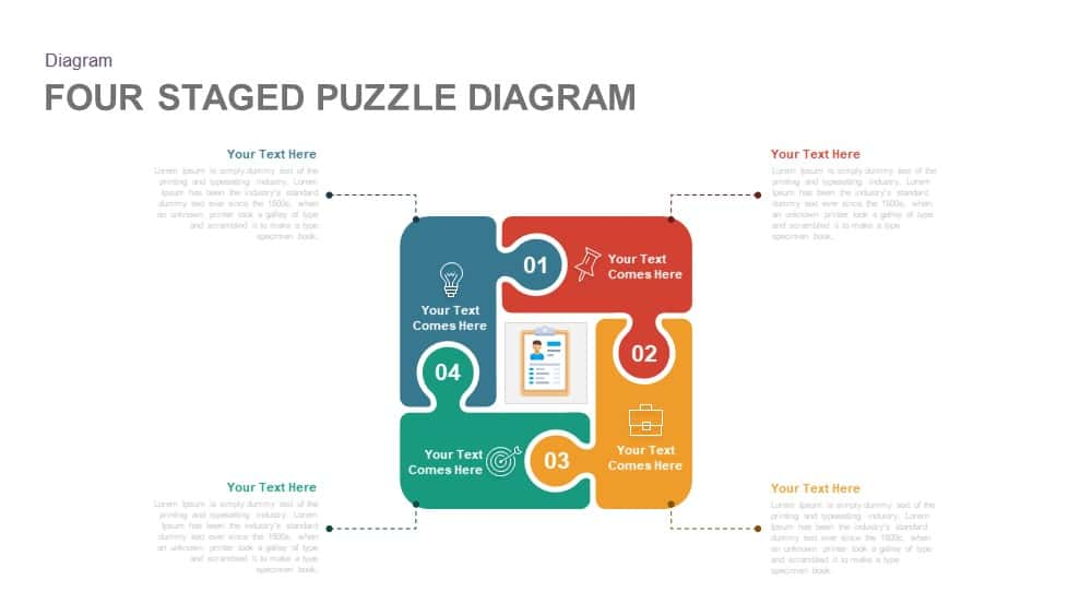 Four Staged PowerPoint Puzzle Diagram Template