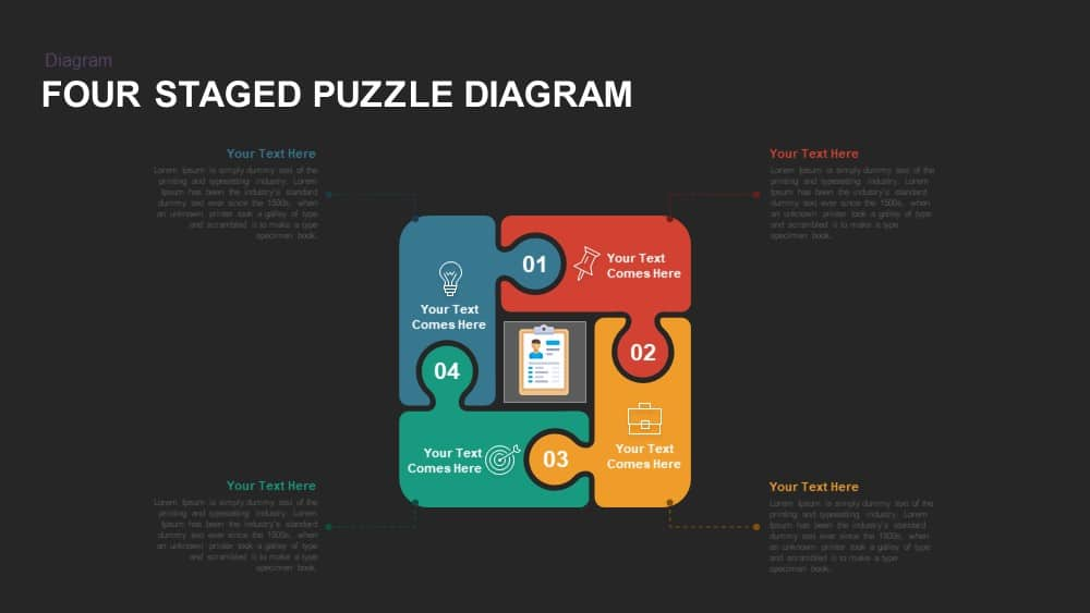 Four Staged Puzzle Diagram Powerpoint template