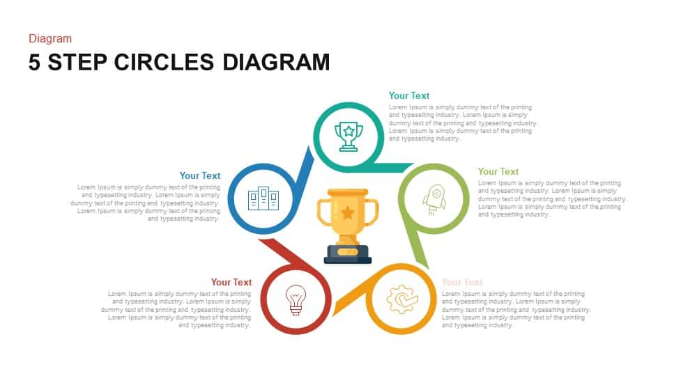 5 Step Circles Diagram PowerPoint template and Keynote slide