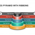 Five Stages Pyramid with Ribbons Powerpoint and Keynote template