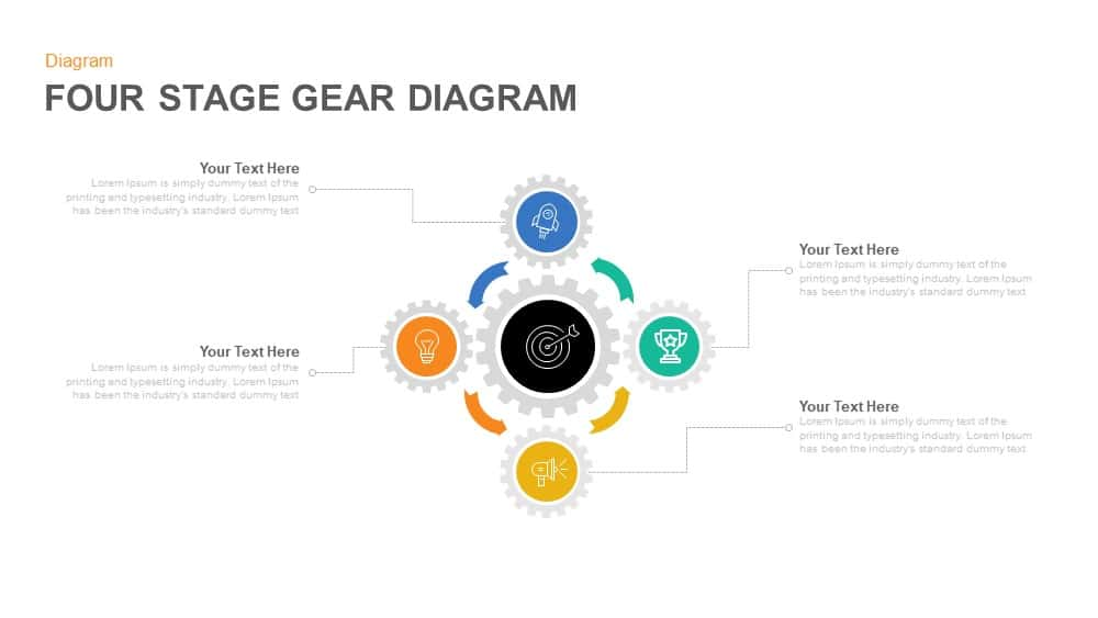four stage gear diagrams powerpoint and keynote template