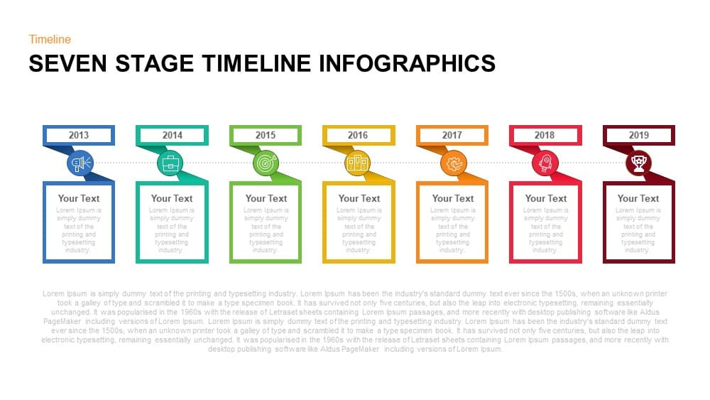 Seven Stage Timeline Infographics Powerpoint and Keynote template