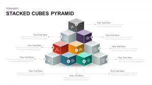 Stacked Cubes Pyramid PowerPoint Template and Keynote Slide