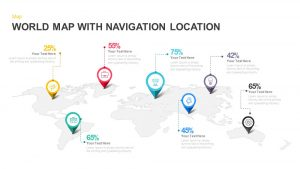 World Map with Navigation Location PowerPoint Template and Keynote Slide