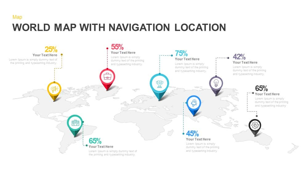 World map with navigation location powerpoint template keynote world map with navigation location powerpoint and keynote template toneelgroepblik Gallery