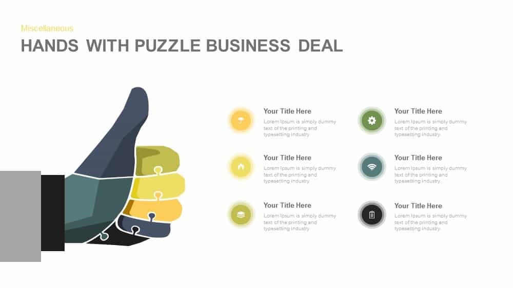 Hands With Puzzle Business Deal PowerPoint And Keynote Template