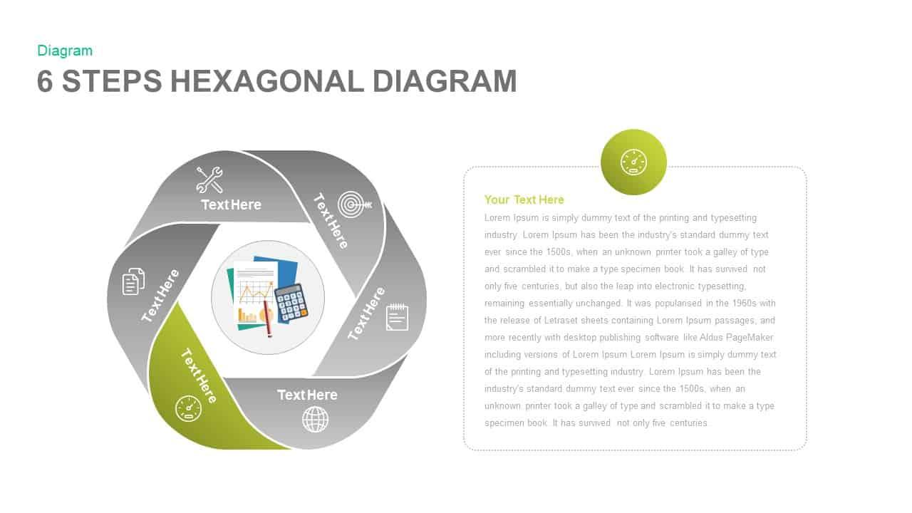 6 Steps Hexagonal Diagram PowerPoint template