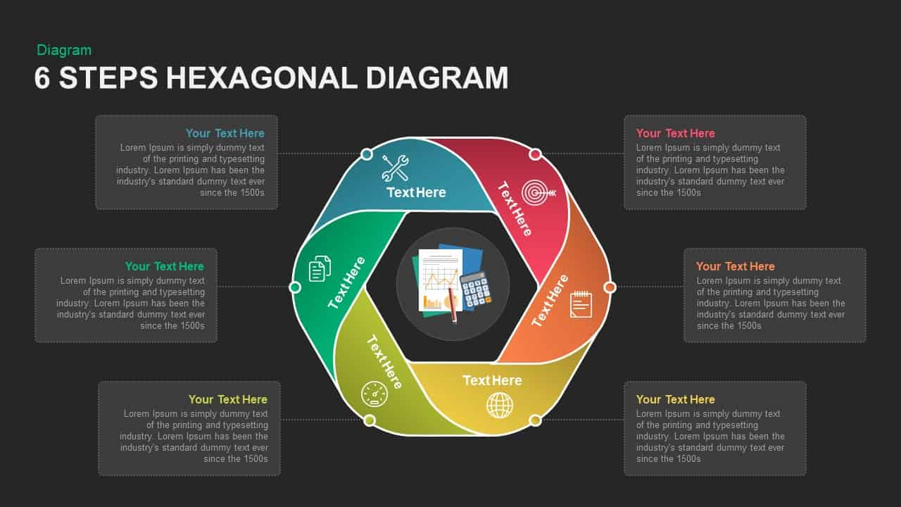 6 Steps Diagram Hexagon PowerPoint Template and Keynote Slide