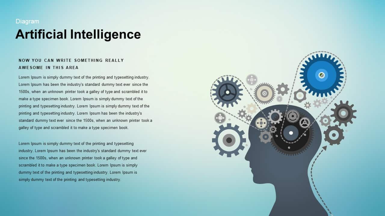 Artificial Intelligence PowerPoint template - Human Head Silhouette