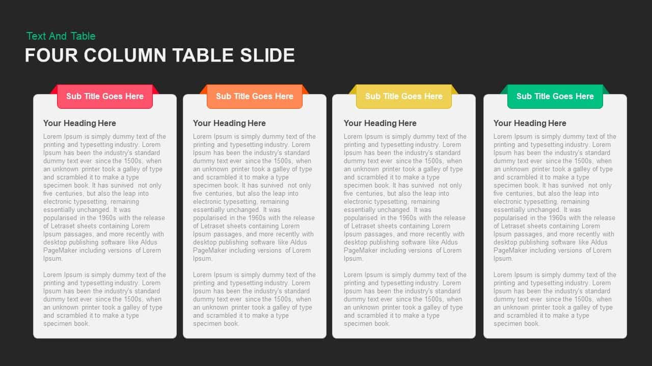 Four Column Table Slide PowerPoint template