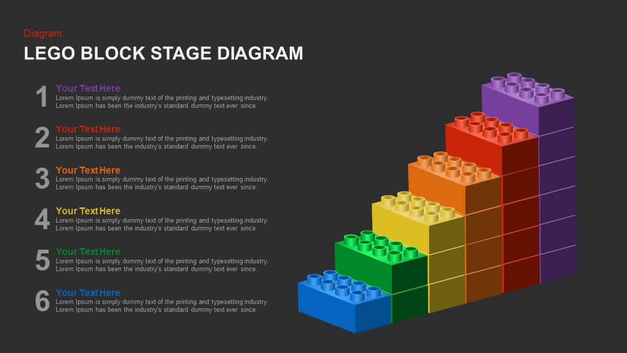 Lego Block Stage Diagram PowerPoint template