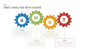 SWOT Analysis PowerPoint Template with Gears and Keynote Slide