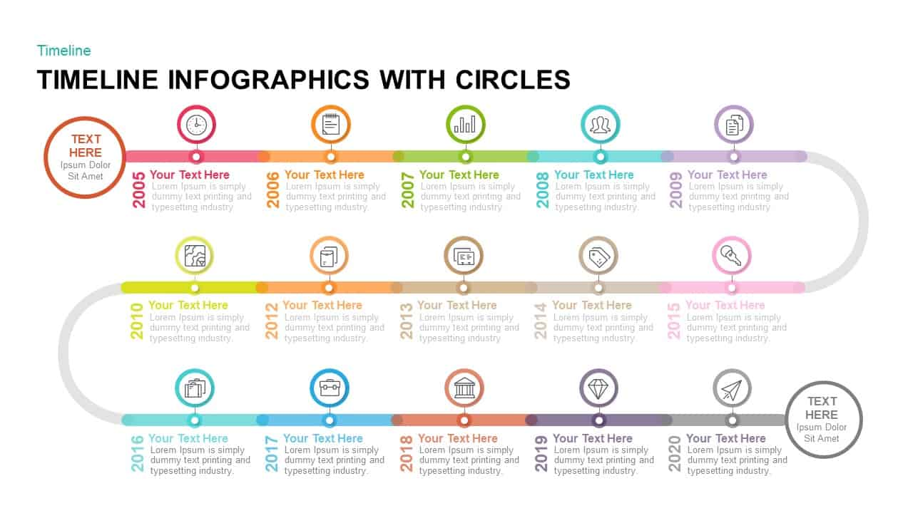 timeline infographics with circles powerpoint template keynote