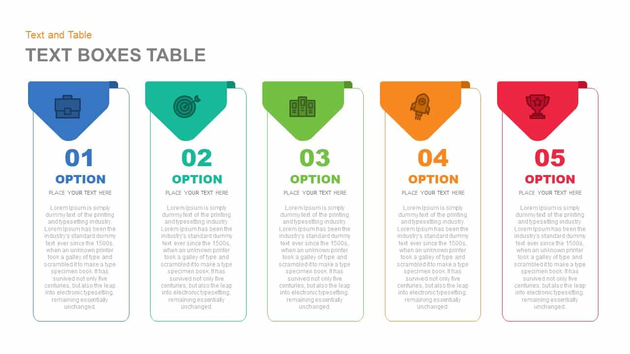 Text Boxes Table PowerPoint Template and Keynote Slide