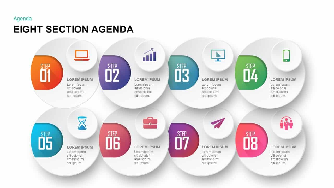 Eight Section Agenda PowerPoint Template and Keynote Template