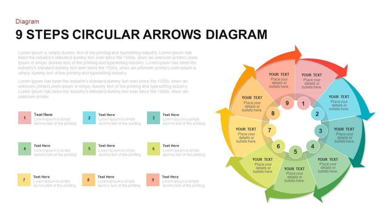 9 Steps Circular Arrows Diagram PowerPoint Template and Keynote