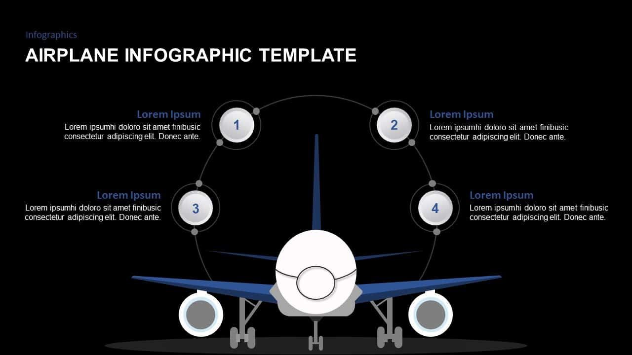 airplane powerpoint template and keynote for infographic presentation
