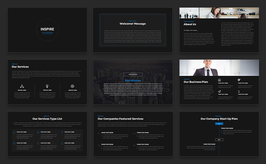 Inspire Pitch Deck Multipurpose Powerpoint Template Keynote