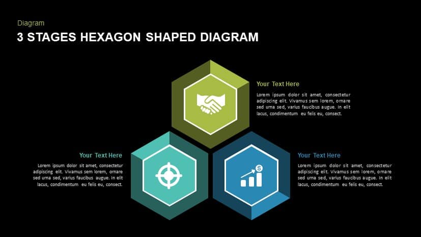 3 stages hexagon shaped diagram powerpoint template and keynote slides